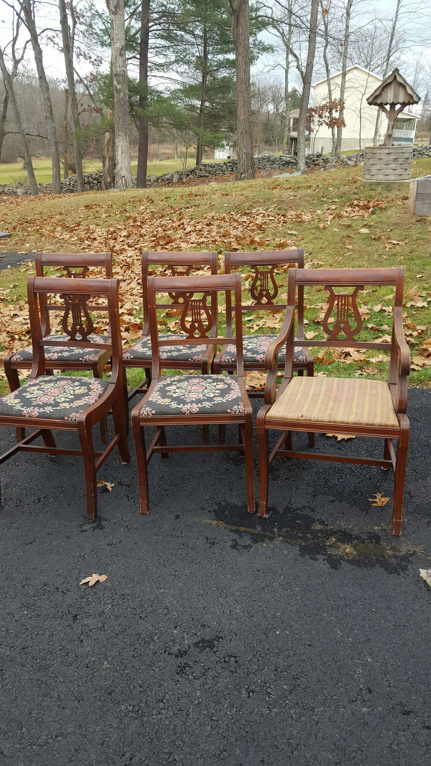 6 antique chairs harp design for sale in Milford PA5miles Buy