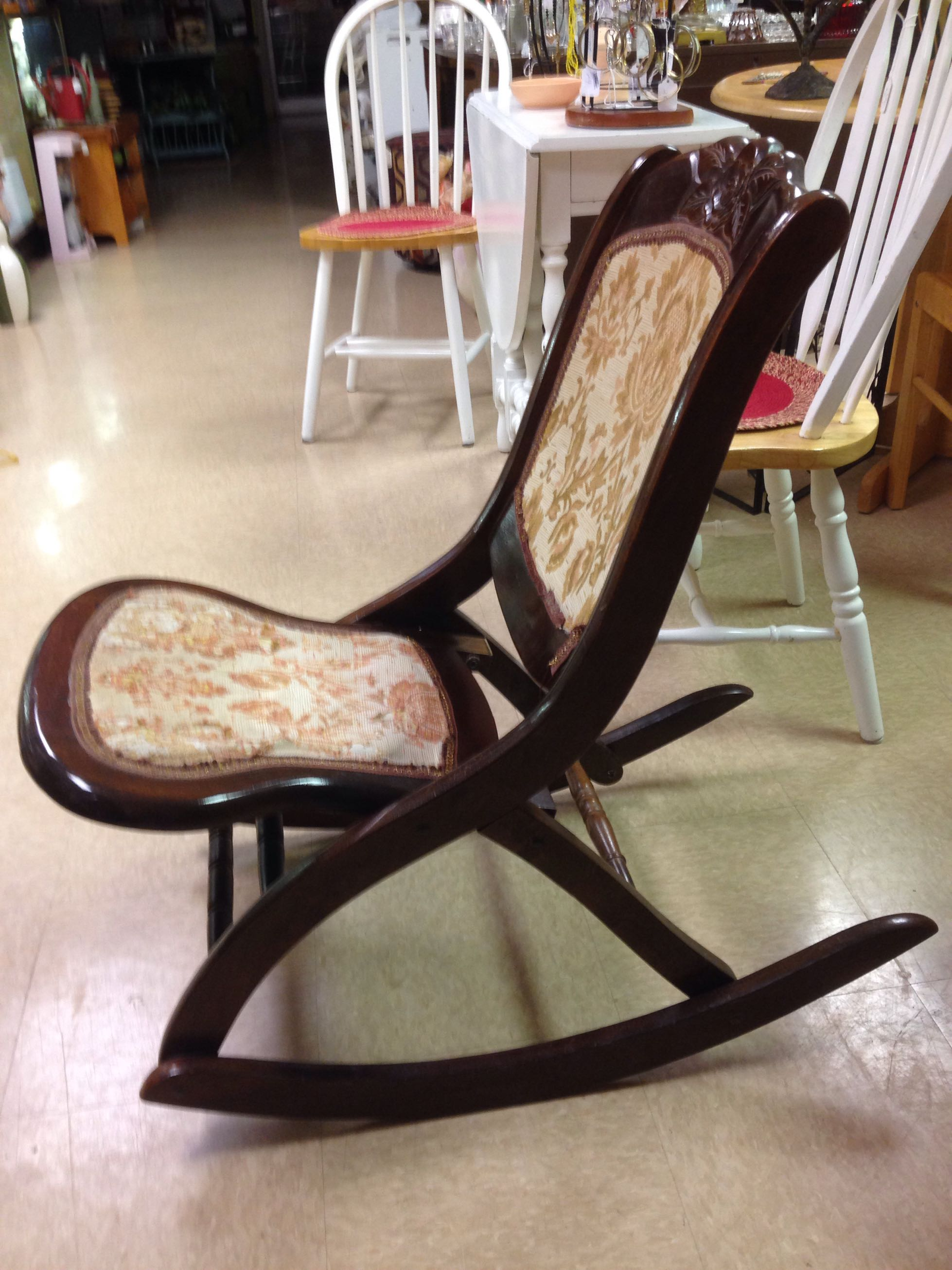 Victorian rocking chair - Vintage Sturdy Victorian Folding Mahogany Wood Tapestry Armless Rocking Chair With Small Tilt Table As