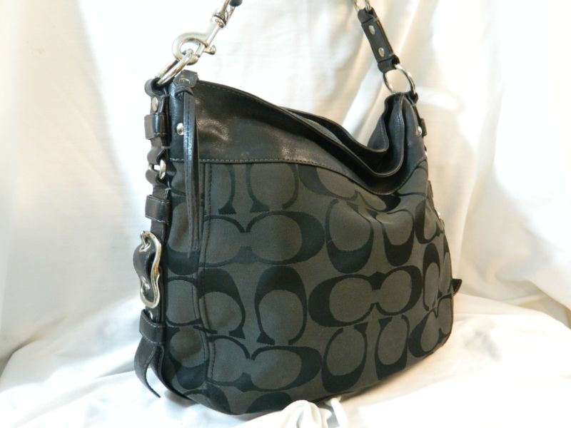 black and gray coach bag 7o03  Authentic Coach Zoe Hobo Signature Bag in Black/Gray, #F12674, Great  Condtion