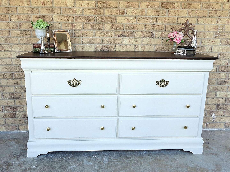 antique white six drawer dresser large wood with dark