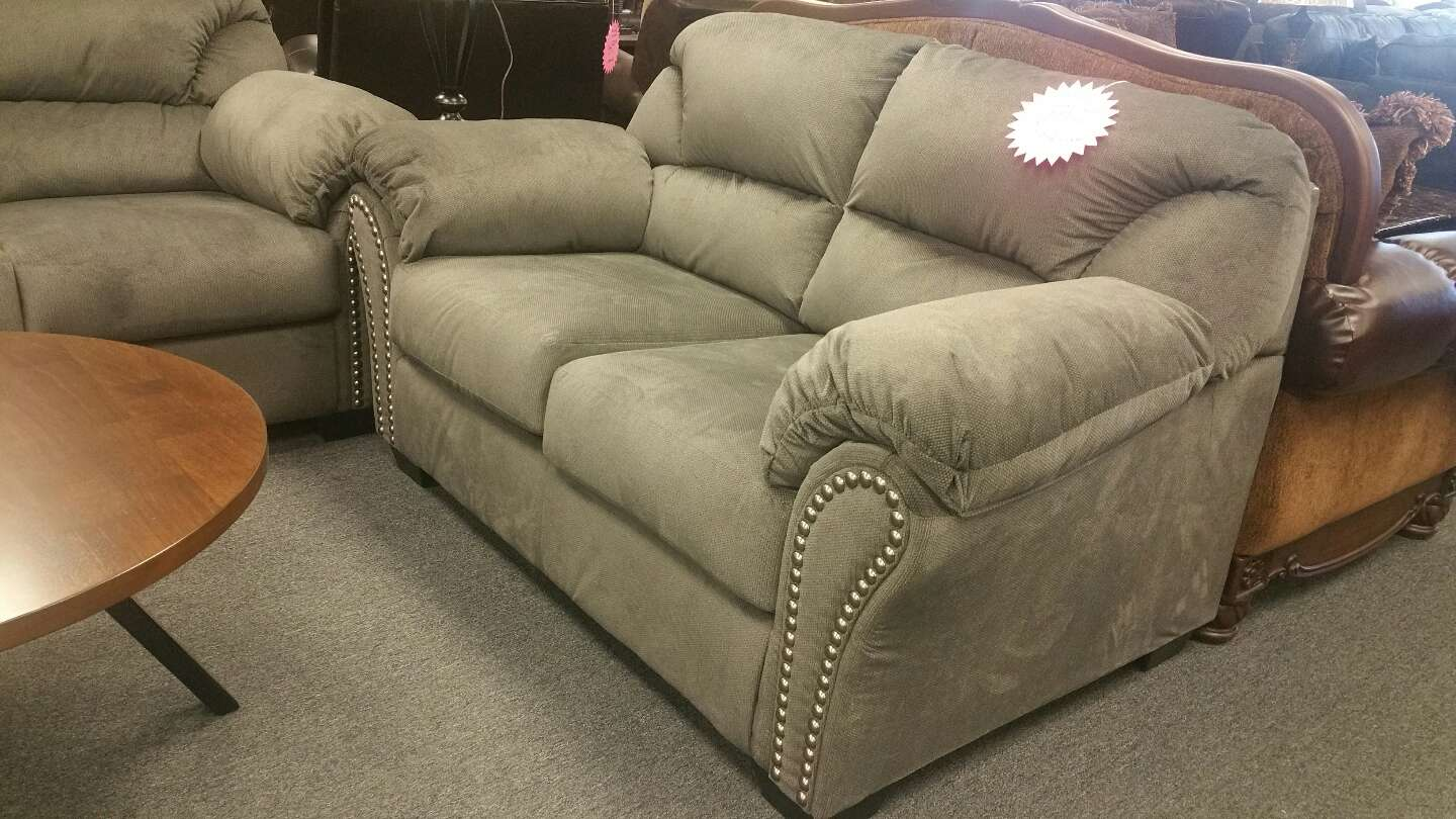 Ashley kinlock charcoal sofa and loveseat w nail heads for Furniture 90 days same as cash