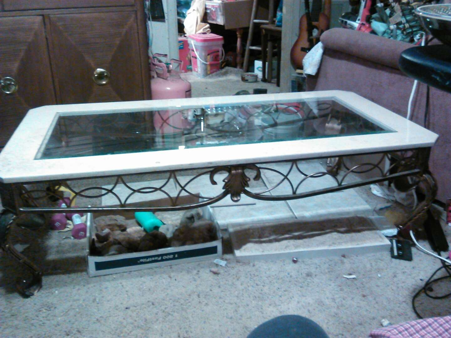 Coffee table Wrought iron marble glass top for sale in Oak