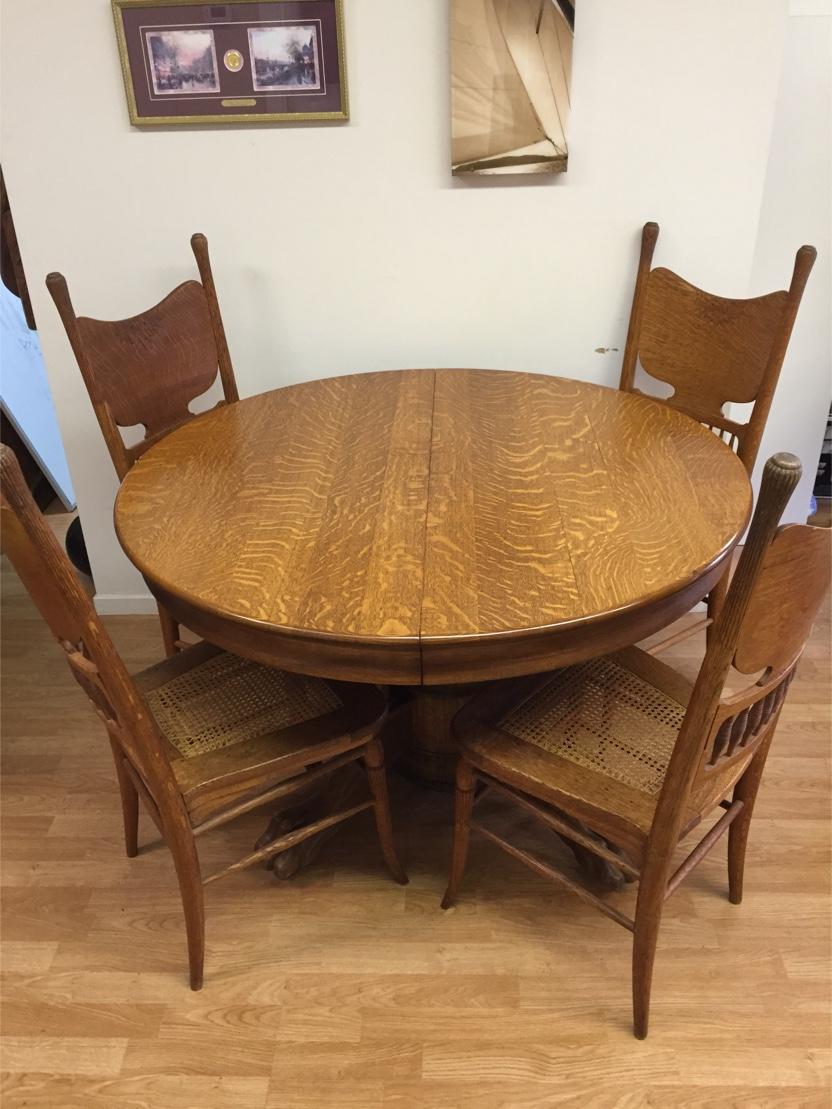 Oak Round Dining Table And Chairs Antique Victorian Tiger Oak Round Dining Table And Chairs Circa