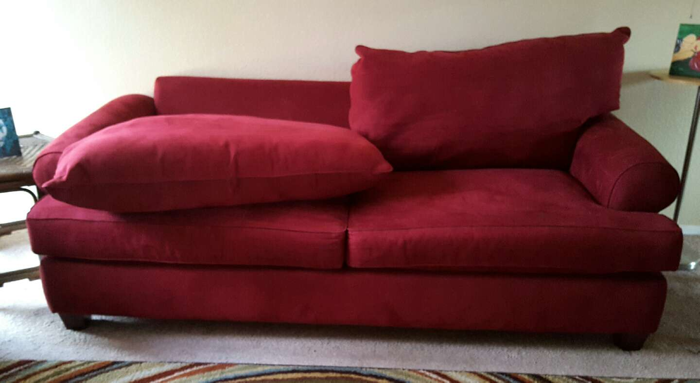 Comfy red suede sofa for sale in austin tx 5miles buy for Suede couches for sale