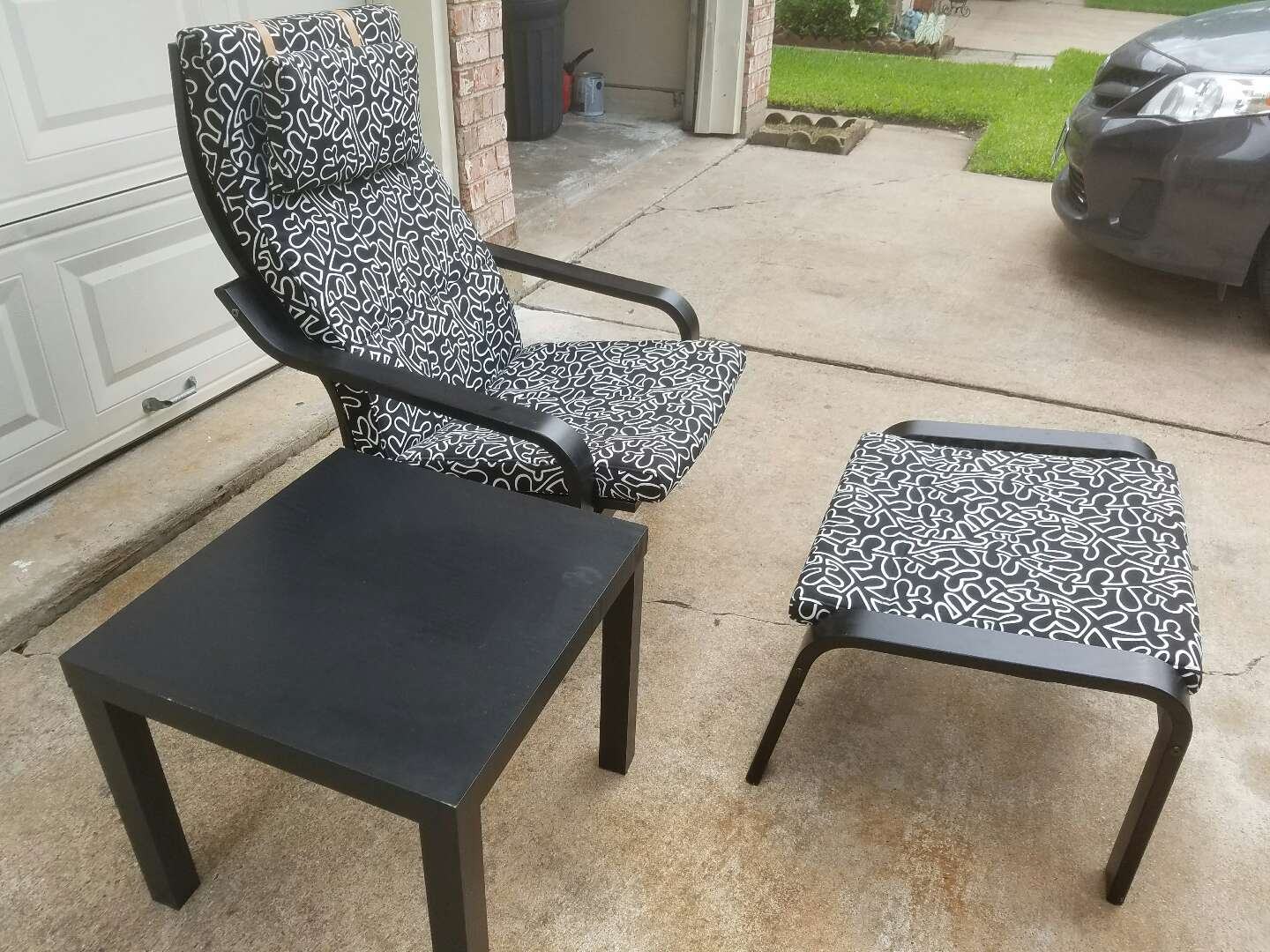 ikea poang rocking chair with footstool and table for sale in stafford tx 5miles buy and sell. Black Bedroom Furniture Sets. Home Design Ideas