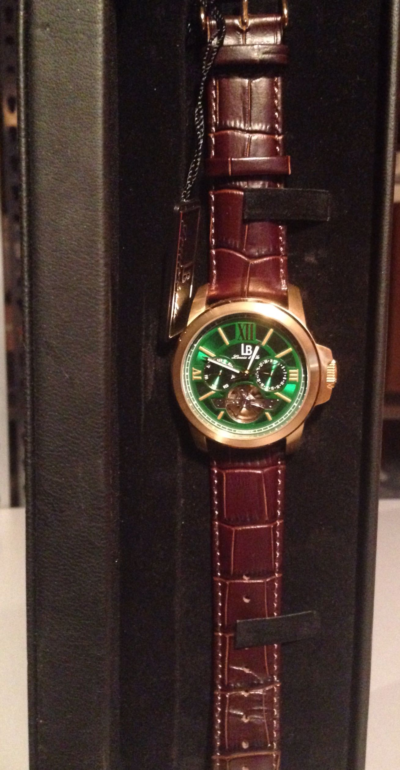 new lb louis bolle axel automatic multi function mens watch green new lb louis bolle axel automatic multi function mens watch green face
