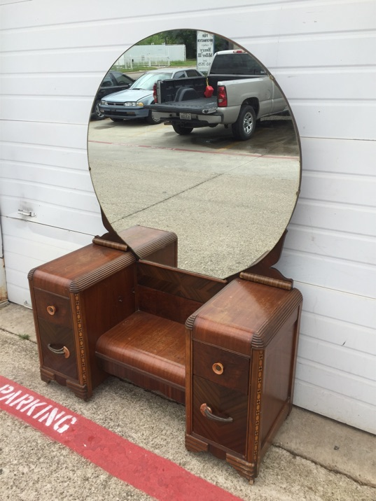 Antique wood four drawer vanity dresser with large round for Antique vanity with round mirror