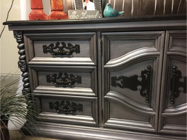 Ornate Pewter Dresser Or Credenza