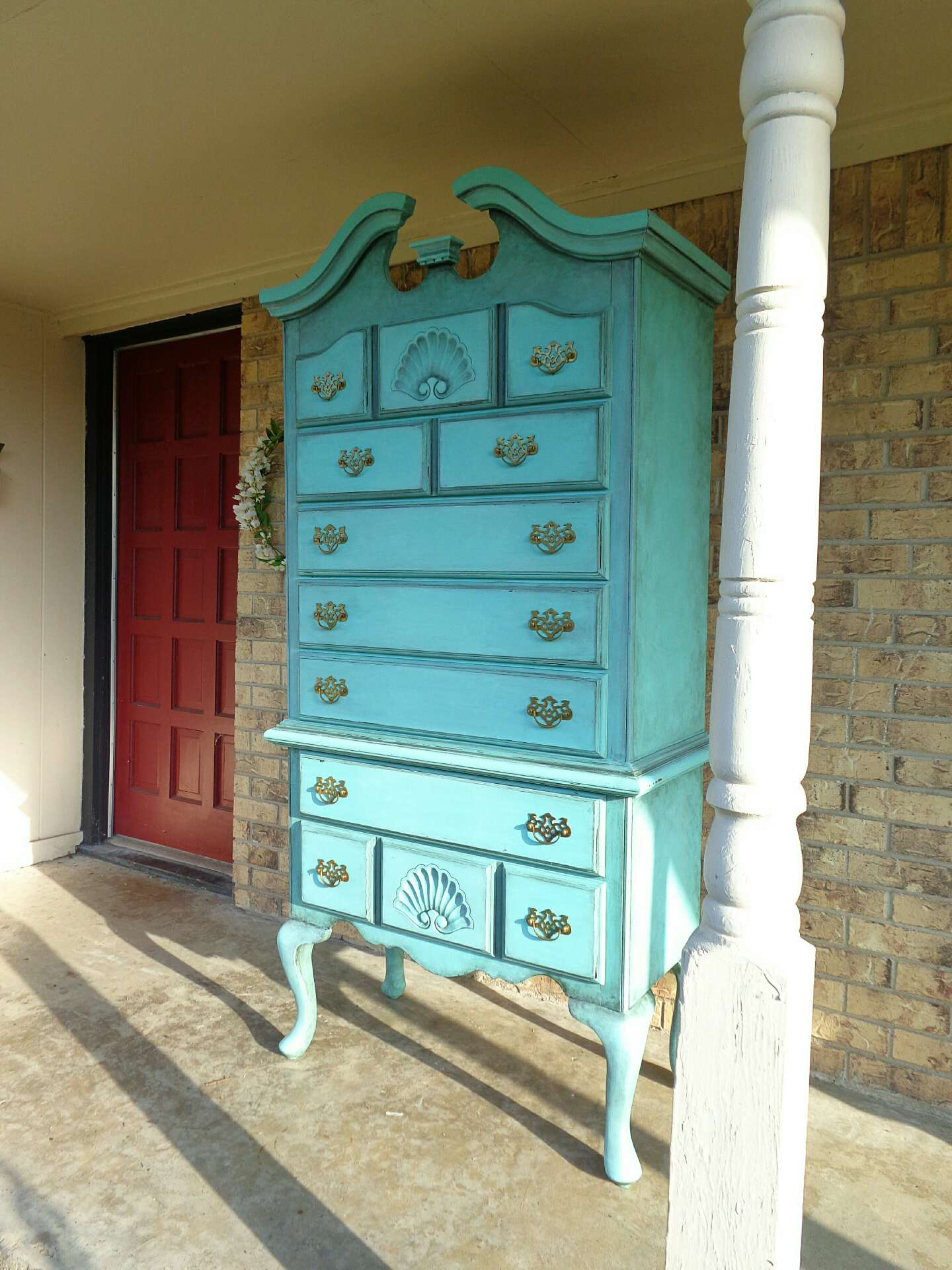 Turquoise Queen Anne Cherry Wood Highboy Dresser French Chest Of