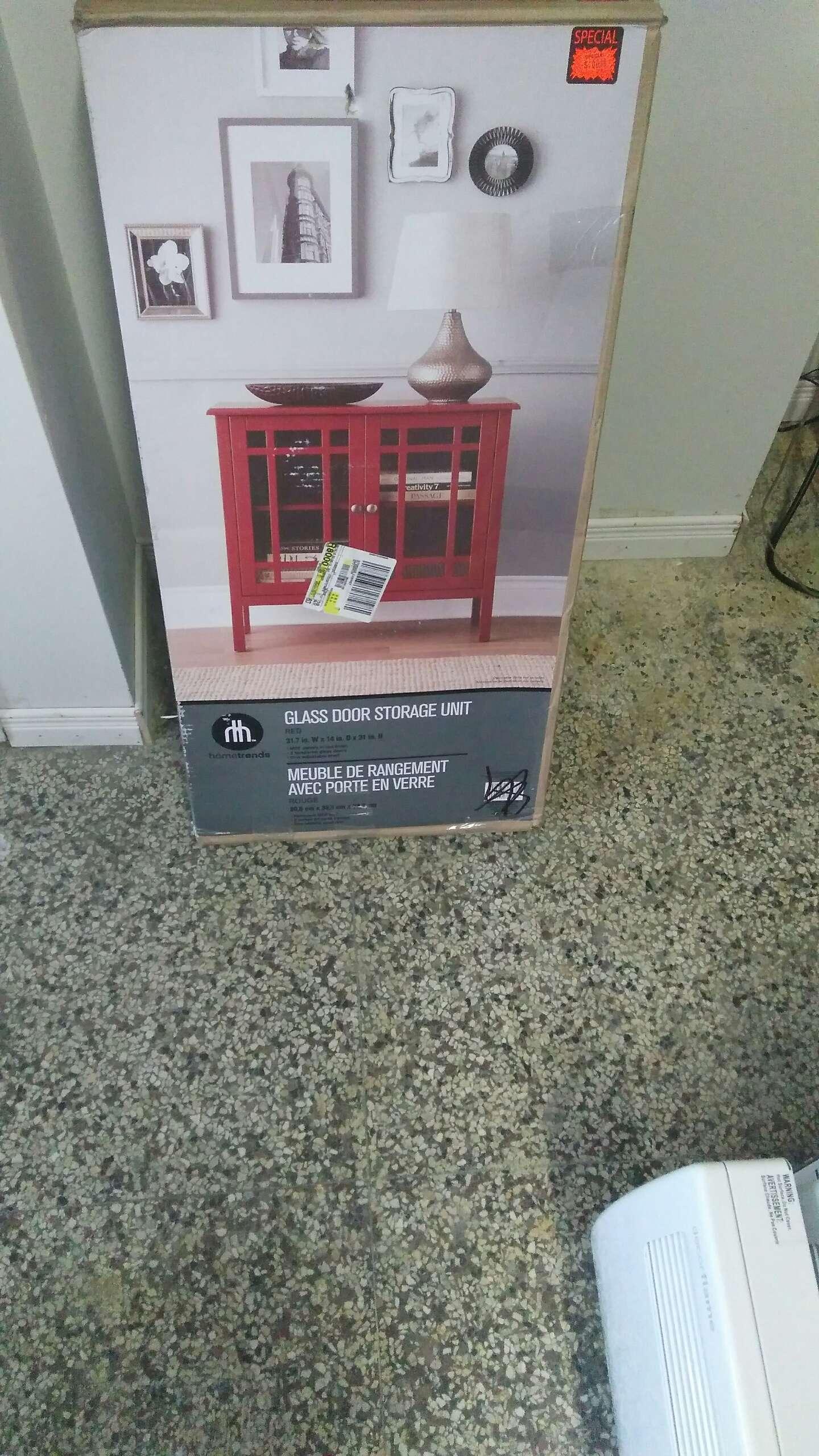 Rouge meuble de rangement avec porte en verre for sale - Meuble rangement verre ...