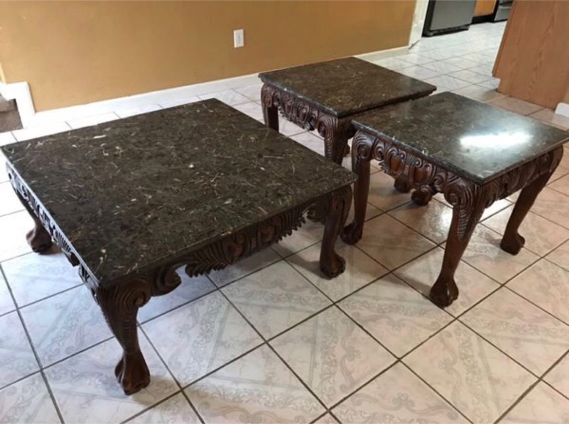 Living Room Table Set Marble And Wood For Sale In Houston