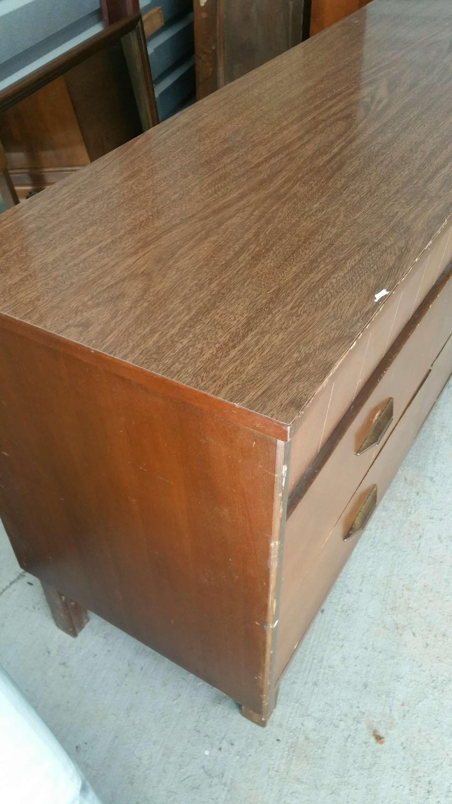 Mid Century Bassett 9 Drawer Dresser And Mirror Vintage